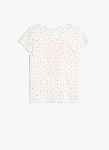 Koton Koton Yıldızlı Yazılı Baskılı T-Shirt Ekru